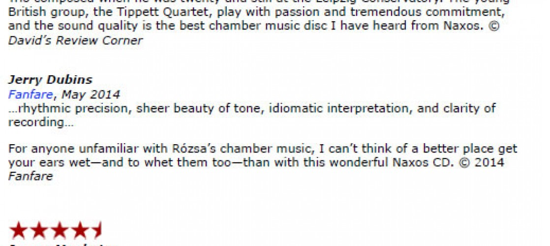 Rozsa CD Reviews